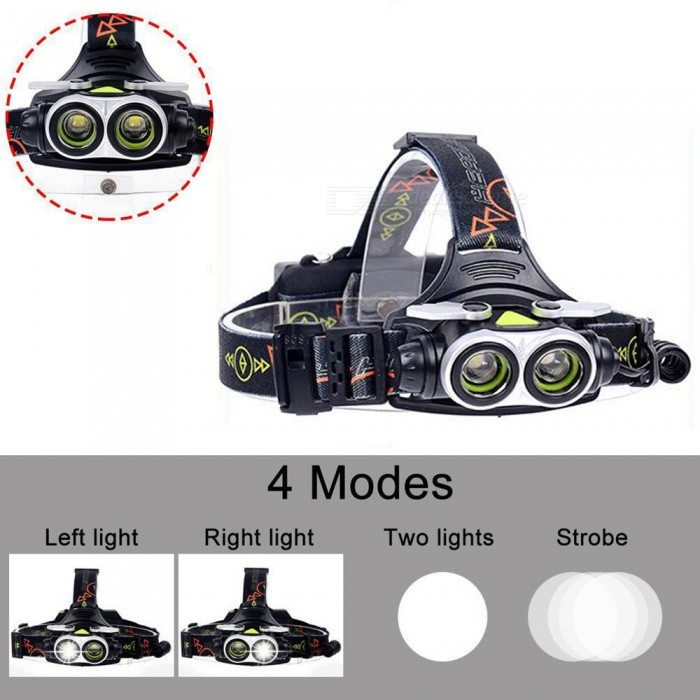 AIBBER TONE 20000 LM Cree 2 x T6 LED Headlight Flashlight Torch, USB Rechargeable HeadlampHeadlamps<br>Bundles1x 2 LED Headlamp 1x USB CableQuantity1 setMaterialAluminum + ABSEmitter BrandCreeLED TypeXM-LEmitter BINT6Color BINWhiteNumber of Emitters2Working Voltage   3.7-4.2V VPower Supply18650Current3 AActual Lumens20000 lumensRuntime4-5 hoursNumber of Modes4Mode ArrangementHi,Fast Strobe,Others,Left light/Right lightMode MemoryNoSwitch TypeClicky SwitchSwitch LocationHead TwistyLensGlassReflectorAluminum SmoothBand Length50 cmCompatible CircumferenceGeneral purposeBeam Range350-450 mPacking List1 x 2-LED Headlamp1 x USB Cable<br>
