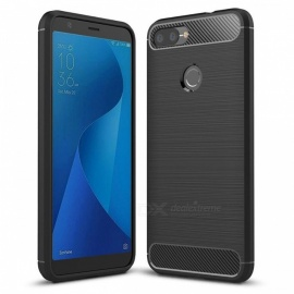 Naxtop Wire Drawing Carbon Fiber Textured TPU Brushed Finish Soft Phone Back Cover Case for Asus Zenfone Max Plus (M1)
