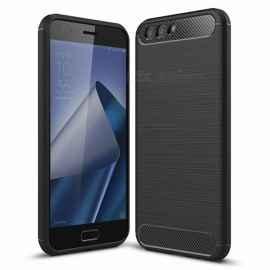 Naxtop Wire Drawing Carbon Fiber Textured TPU Brushed Finish Soft Phone Back Cover Case for Asus Zenfone 4 ZE554KL
