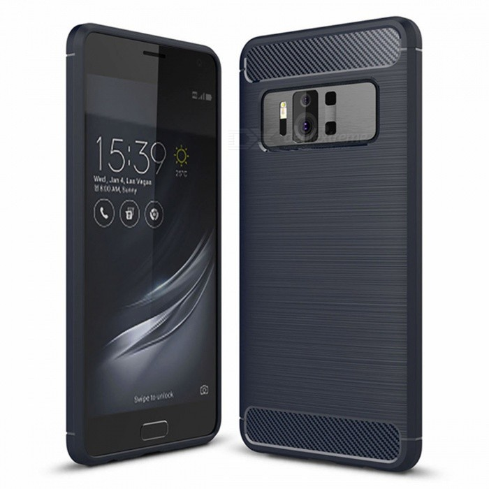 Naxtop Wire Drawing Carbon Fiber Textured TPU Brushed Finish Soft Phone Back Cover Case for Asus Zenfone AR ZS571KLTPU Cases<br>ColorBlueModelN/AMaterialTPUQuantity1 pieceShade Of ColorBlueCompatible ModelsAsus Zenfone AR ZS571KLPacking List1 x Case<br>
