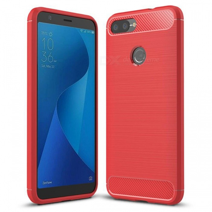 Naxtop Wire Drawing Carbon Fiber Textured TPU Brushed Finish Soft Phone Back Cover Case for Asus Zenfone Max Plus (M1)TPU Cases<br>ColorRedModelN/AMaterialTPUQuantity1 pieceShade Of ColorRedCompatible ModelsAsus Zenfone Max Plus (M1)Packing List1 x Case<br>