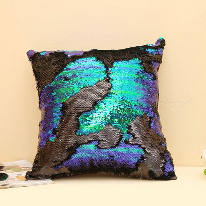 Magic Reversible Sequins Mermaid Pillow Case Cover - GreenLifestyle Gadgets<br>ColorGreenMaterialOtherQuantity1 piecePacking List1 x Pillow Case<br>