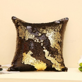 Magic Reversible Sequins Mermaid Pillow Case Cover - Black + Golden