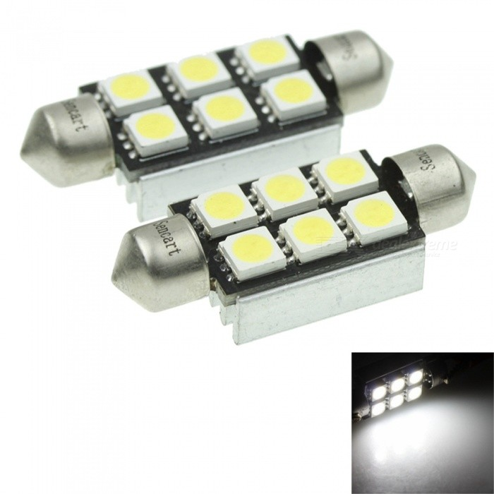 Sencart 2Pcs White 36MM 6-LED 5050 SMD Festoon Dome Car Light Interior Lamp Bulb, 12VCar Interior Lights<br>Color36mm 6SMD WhiteModelLicense Plate LightsQuantity2 piecesMaterialPCB+LED+AluminumPower2 WWorking Voltage12-16ConnectorOthers,C5WBulb Specification5050SMD LEDBrightness120-160Color BIN6000-6500KApplicationOthers,License Plate Lights  Car Interior  LightsPacking List2 x LED Bulbs<br>