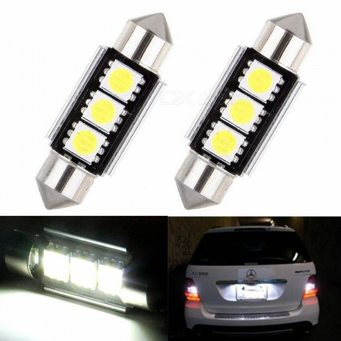 Sencart 2Pcs Festoon 36mm 3SMD 5050 Chip LED Bulb Interior Reading Door Map Dome Lights