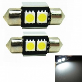 "sencart 2pcs 31mm (1.25"" ) hvit 5050 SMD LED-pærer for interiør festoon map kuppel nummerplater lys lampe"
