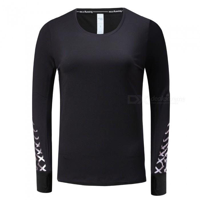 BARBOK Womens Long Sleeve Yoga Sports Jerseys with Gloves Cuff Design for Spring - Black (L)ColorBlackSizeLModelLS298Quantity1 pieceMaterial87% polyester+13% spandexTypelong sleeve and round collarNamefitness clothesFeaturesunique cuffGenderWomenPacking List1 x Sports clothes<br>