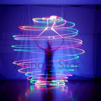 LED POI Thrown Balls for Professional Belly Dance Level Hand women leg Belly Dancer Props with 7 Color 9 Function LED White/Changeable