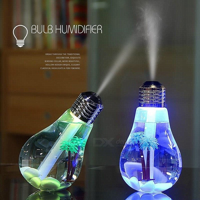 Creative Colorful Light Bulb Style HumidifierStage Lights<br>ColorSilverMaterialABSQuantity1 pieceShade Of ColorTransparentPattern TypeSpray 7 color light bulb humidifier.Packing List1 x Bulb Humidifier1 x English instruction manual<br>
