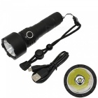 AIBBER TONE Portable T6 LED USB Charging 5-Mode Flashlight for Outdoor Hunting Camping - Black (18650 Battery Not Included)