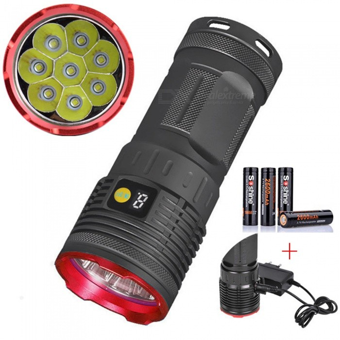 AIBBER TONE 8000LM 8 x XM-L T6 LED Hunting Flashlight with Battery Power Digital Display + 4Pcs Soshine 18650 2600mAh Batteries18650 Flashlights<br>ColorSilver Gray + Red 8-LED with BatteryBrandOthers,AIBBER TONEQuantity1 setMaterialAluminium alloyOther FeaturesRechargeableEmitter BrandCreeLED TypeXM-LEmitter BINT6Number of Emitters8Color BINWhiteWorking Voltage   3.7-4.2 VPower Supply4*18650Current3 AOutput(lumens)1001 and aboveTheoretical Lumens8000 lumensActual Lumens8000 lumensRuntime(hours)3.1-4Runtime3-4 hoursNumber of Modes4Mode ArrangementHi,Mid,Low,Slow StrobeMode MemoryNoSwitch TypeClicky SwitchSwitch LocationSideLensGlassReflectorAluminum SmoothBeam Range150-200 mStrap/ClipNoPacking List1 x Flashlight4 x Soshine 18650 2600mAh batteries1 x Charger<br>