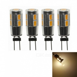 Sencart 4Pcs G4 10SMD 5630 Warm White Back Pin 3000K Home Spot Light LED Cabinet Bulbs, DC12V