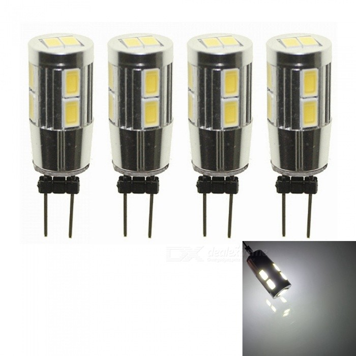 Sencart 4Pcs G4 10SMD 5630 Cold White Back Pin 6000K Home Spot Light LED Cabinet Bulbs DC12VG4<br>Color4PCS Cold WhiteModelG4 LED BulbsMaterialPCB+LEDForm  ColorWhiteQuantity4 piecesPower5WRated VoltageOthers,8-16 VConnector TypeG4Chip BrandLUMILEDSChip Type5630Emitter TypeOthers,5630SMD LEDTotal Emitters10Theoretical Lumens450 lumensActual Lumens280 lumensColor Temperature6000KDimmableNoBeam Angle360 °Packing List4 x G4 LED Bulbs<br>