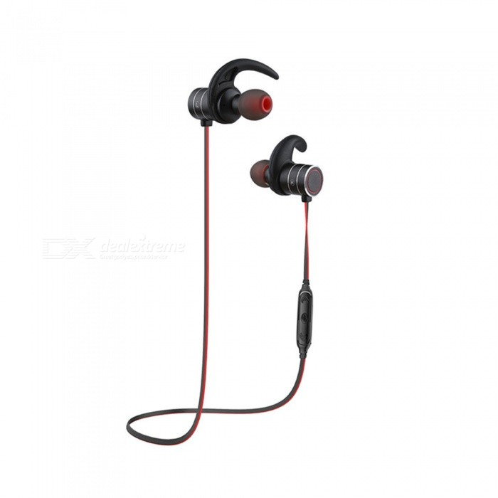 AWEI AK9 IPX4 Waterproof Wireless Bluetooth Earphone Stereo Earbuds - Black + RedHeadphones<br>ColorBlack + RedBrandAWEIModelAK9MaterialTPE + ABS + magnet + metalQuantity1 DX.PCM.Model.AttributeModel.UnitConnectionBluetoothBluetooth VersionBluetooth V4.1Bluetooth ChipCSROperating Range10MConnects Two Phones SimultaneouslyYesHeadphone StyleBilateral,Earbud,In-EarWaterproof LevelIPX4Applicable ProductsUniversalHeadphone FeaturesEnglish Voice Prompts,Phone Control,Long Time Standby,Magnetic Adsorption,Noise-Canceling,Volume Control,With Microphone,Lightweight,Portable,For Sports &amp; ExerciseSupport Memory CardNoSupport Apt-XYesChannels5.1Driver Unit6mmBattery TypeLi-polymer batteryBuilt-in Battery Capacity 65 DX.PCM.Model.AttributeModel.UnitStandby Time120 DX.PCM.Model.AttributeModel.UnitTalk Time12 DX.PCM.Model.AttributeModel.UnitMusic Play Time10 DX.PCM.Model.AttributeModel.UnitPacking List1 x Bluetooth earphone2 Pairs x Ear tips1 x USB cable1 x User manual<br>