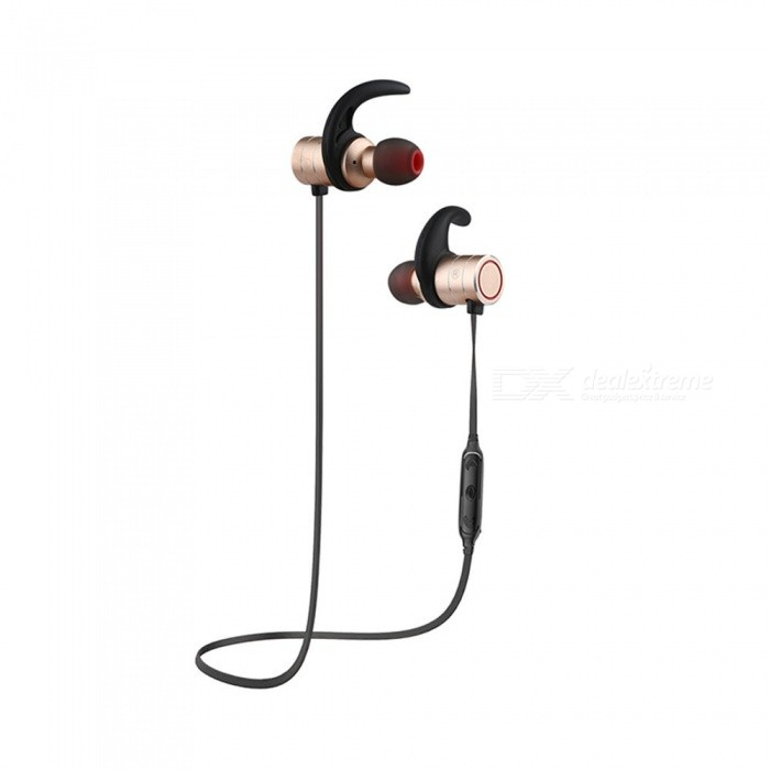 AWEI AK9 IPX4 Waterproof Wireless Bluetooth Earphone Stereo Earbuds - GoldenHeadphones<br>ColorGoldenBrandAWEIModelAK9MaterialTPE + ABS + magnet + metalQuantity1 DX.PCM.Model.AttributeModel.UnitConnectionBluetoothBluetooth VersionBluetooth V4.1Bluetooth ChipCSROperating Range10MConnects Two Phones SimultaneouslyYesHeadphone StyleBilateral,Earbud,In-EarWaterproof LevelIPX4Applicable ProductsUniversalHeadphone FeaturesEnglish Voice Prompts,Phone Control,Long Time Standby,Magnetic Adsorption,Noise-Canceling,Volume Control,With Microphone,Lightweight,Portable,For Sports &amp; ExerciseSupport Memory CardNoSupport Apt-XYesChannels5.1Driver Unit6mmBattery TypeLi-polymer batteryBuilt-in Battery Capacity 65 DX.PCM.Model.AttributeModel.UnitStandby Time120 DX.PCM.Model.AttributeModel.UnitTalk Time12 DX.PCM.Model.AttributeModel.UnitMusic Play Time10 DX.PCM.Model.AttributeModel.UnitPacking List1 x Bluetooth earphone2 Pairs x Ear tips1 x USB cable1 x User manual<br>
