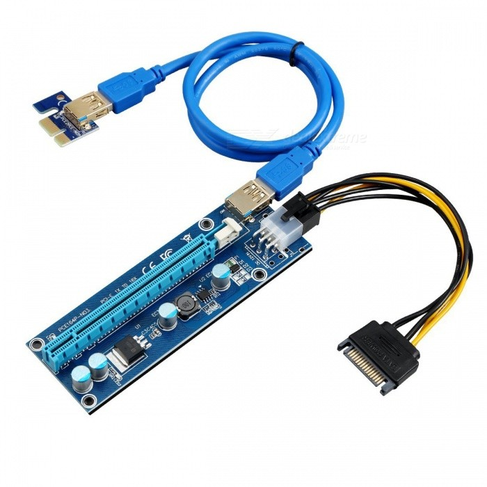 Kitbon 009s USB 3.0 PCI-E 1X to 16X Riser Adapter Card Extender CableForm  Color009SQuantity1 setForm  ColorBlueMaterialABSApplication SupportedPCPacking List1 x PCI-E 16X Riser Board (PCB color may vary from images. Message us for details.)1 x PCI-E 1X Adapter Card (PCB color may vary from images. Message us for details.)1 x 60CM USB 3.0 Cable (cable color may vary from images. Message us for details.)1 x 6-pin PCI-E Power to 15-pin SATA power cable<br>