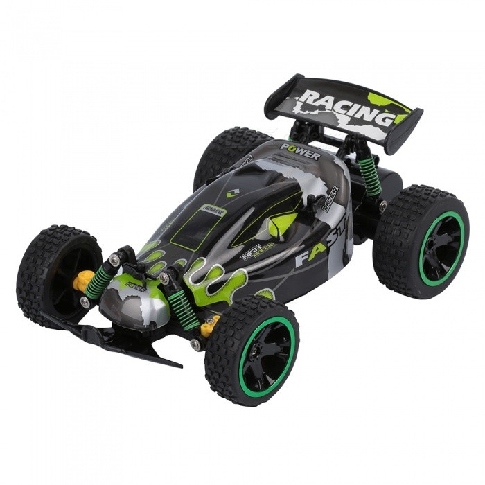 RUI CHUANG QY1802B 1:18 Scale 15KMH 2.4GHz Remote Control Off-road Racing Car - GreenR/C Cars<br>ColorGreenModelQY1802BMaterialABSQuantity1 pieceShade Of ColorGreenShape ModelOffroad CarScaleOthers,1:18Channels Quanlity4 channelFunctionLeft,Right,Forward,BackwardRemote control frequency2.4GHzRemote Control Range30 mSuitable Age 8-11 years,12-15 years,Grown upsCameraNoCamera PixelNoLamp YesBattery CapacityN/A mAhBattery TypeAACharging TimeN/A hourWorking Time10~15 minutesRemote Controller Battery TypeAARemote Controller Battery Number2(not included)Other FeaturesSpeed:13~15km/hPacking List1 x RC car1 x RC Controller<br>