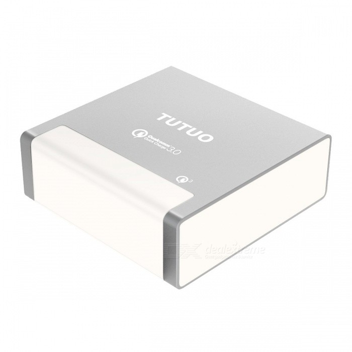 TUTUO 40W 4 Ports USB Charger Fast Quick Charge 3.0 Desktop Power Adapter for Samsung S8 Xiaomi IPHONE - SilverAC Chargers<br>ColorSilverPower AdapterEU PlugModelQC-024PMaterialPC+ABSQuantity1 pieceCompatible ModelsGalaxy S8 S7, IPHONE 7 IPAD Pro 10.5, Huawei P9 P10, Oneplus5, LG G5, HTC and moreInput Voltage100240 VOutput Current0w(3.6-6.5Vdc/3A,6.5-9Vdc/2A,9-12Vdc/1.5A) mAOutput Power40w(3.6-6.5Vdc/3A,6.5-9Vdc/2A,9-12Vdc/1.5A) WQuick ChargeQC3.0LED IndicatorYesCable Length100 cmCertificationCE, RoHS, FCC <br>Qualcomm Quick Charge 3.0Packing List1 x USB Quick Charger1 x Power Cable (100cm)<br>