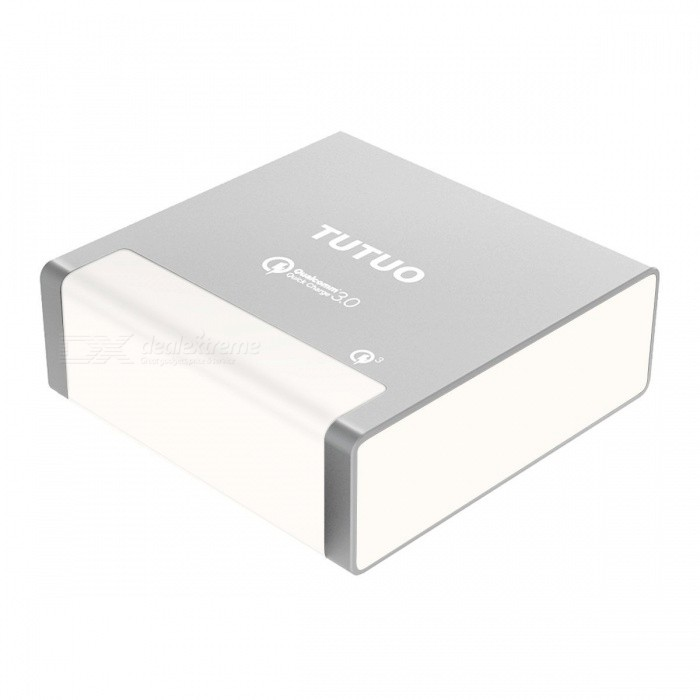 TUTUO 40W 4 Ports USB Charger Quick Charge 3.0 Fast Charger Desktop Charger High Speed Power Adapter - US PlugAC Chargers<br>ColorSilverPower AdapterUS PlugModelQC-024PMaterialPC+ABSQuantity1 pieceCompatible ModelsGalaxy S8 S7, IPHONE 7 IPAD Pro 10.5, Huawei P9 P10, Oneplus5, LG G5, HTC and moreInput Voltage100240 VOutput Current0w(3.6-6.5Vdc/3A,6.5-9Vdc/2A,9-12Vdc/1.5A) mAOutput Power40w(3.6-6.5Vdc/3A,6.5-9Vdc/2A,9-12Vdc/1.5A) WQuick ChargeQC3.0LED IndicatorYesCable Length100 cmCertificationCE, RoHS, FCC <br>Qualcomm Quick Charge 3.0Packing List1 x USB Quick Charger1 x Power Cable (100cm)<br>