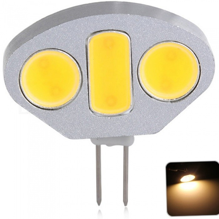 Sencart G4 COB Warm White 4.5W LED Bulb Cabinet Home Light Boat RV Car Reading Spotlight Lamp DC 12VG4<br>ColorWarm WhiteModelG4MaterialAluminum+LED+PCBForm  ColorSilverQuantity1 piecePowerOthers,4.5WRated VoltageOthers,12 VConnector TypeG4Chip BrandCreeChip TypeCOBEmitter TypeCOBTotal Emitters3Theoretical Lumens360 lumensActual Lumens320 lumensColor Temperature3000KDimmableNoBeam Angle180 °Packing List 1 x G4 Light Bulb<br>
