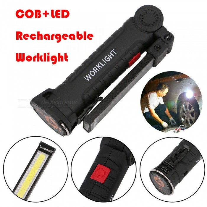 AIBBER TONE COB LED Work Light USB Rechargeable Magnetic Torch Flexible Inspection Lamp Worklight for CampingColorBlackMaterialPlastic shellQuantity1 setEmitter TypeCOBPower5 WWorking Voltage   5 VBattery CapacityLi-polymer battery mAhLumens2000 lumensBattery Charging Time1-2Working Time3-5 hourPacking List1 x Flashlight1 x USB Cable<br>