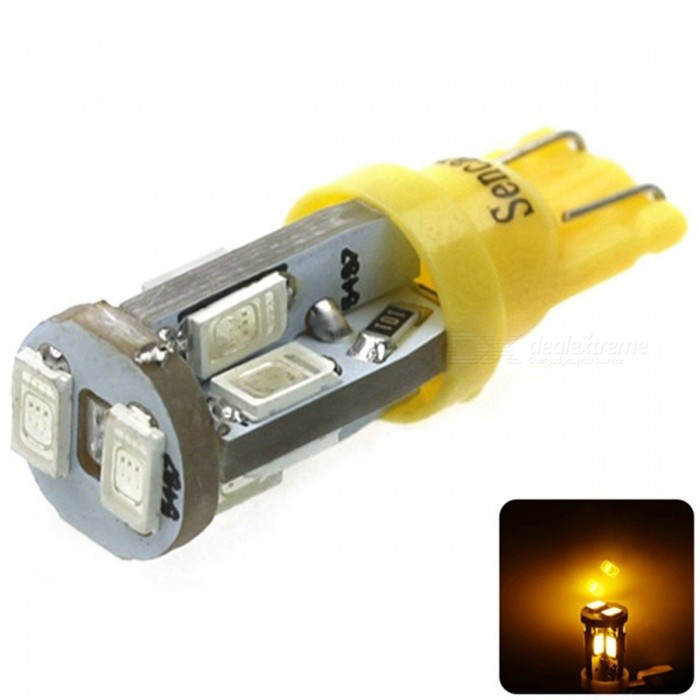 SENCART T10 3W Yellow 10-SMD LED Error-Free Canbus Car Clearance LampTail Lights<br>Color BINYellowForm  ColorWhite + Yellow + Multi-ColoredEmitter TypeOthers,5630SMD LEDChip BrandEpistarChip Type5630Total Emitters10Power3WColor Temperature6000-6500 DX.PCM.Model.AttributeModel.UnitTheoretical Lumens400 DX.PCM.Model.AttributeModel.UnitActual Lumens270 DX.PCM.Model.AttributeModel.UnitRate Voltage12Waterproof FunctionNoConnector TypeT10ApplicationLicense plate light,Steering light,Headlamp,Clearance lamp,Instrument lamp,Signal light,Indicator lamp,Tail light,Roof light,Side light,Reading lampModelT10Quantity1 DX.PCM.Model.AttributeModel.UnitMaterialPCB +LEDApplicationOthersPacking List1 x T10 LED Bulb<br>