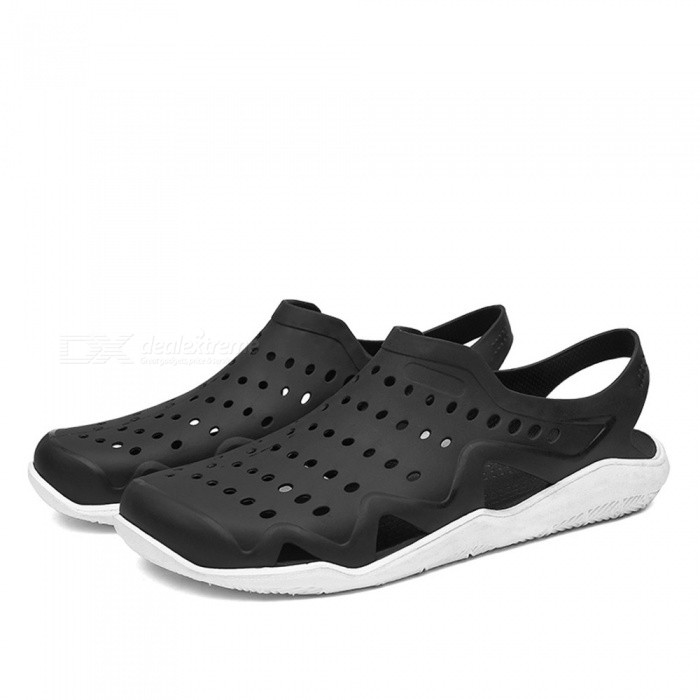 CTSmart 1512 Summer Outdoor Breathable Beach Shoes - Black + White (43)ColorBlack + WhiteSize43Model1512Quantity1 setMaterialPVCGenderMenPacking List1 x Pairs of Shoes<br>