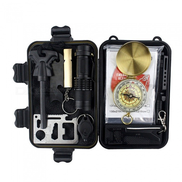 CTSmart 45646 Multi-purpose Outdoor Camping Survival Mountaineering Portable Self-help Survival Kit - BlackFirst Aid<br>ColorBlackModel45646Quantity1 pieceMaterialPlasticBest UseCamping,TravelPacking List1 * Tool Box1 * Multi-Function Knife1 * Card Knife1 * Fighting Stick1 * Compass1 * Whistle1 * Life Rug1 * Flashlight1 * LED Light1 * Tactical Pen<br>
