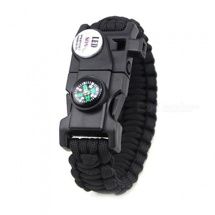 CTSmart 538657 Outdoor Multi-purpose Survival Paracord Bracelet Camping Mountaineering Compass with LED Light - BlackFirst Aid<br>ColorBlackModel538657Quantity1 pieceMaterialPlastic / resinBest UseClimbing,CampingPacking List1 x Bracelet<br>