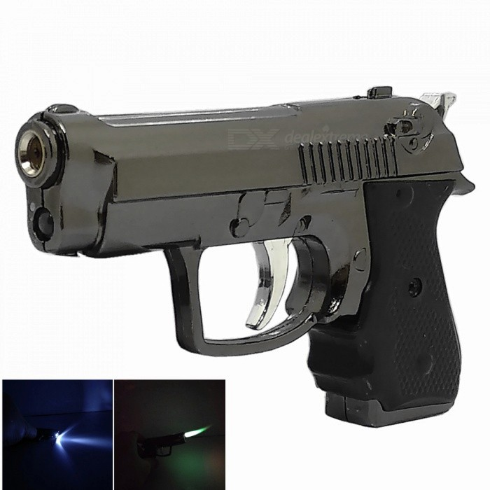 Mini Zinc Alloy Pistol Shape Windproof Lighter with LED for Smoking / Lit - GrayButane Jet Lighters<br>ColorGrayModelN/AMaterialZinc AlloyQuantity1 pieceShade Of ColorGrayTypeGasFlame ColorGreenWindproofYesFuelButanePacking List1 x Windproof Lighter<br>