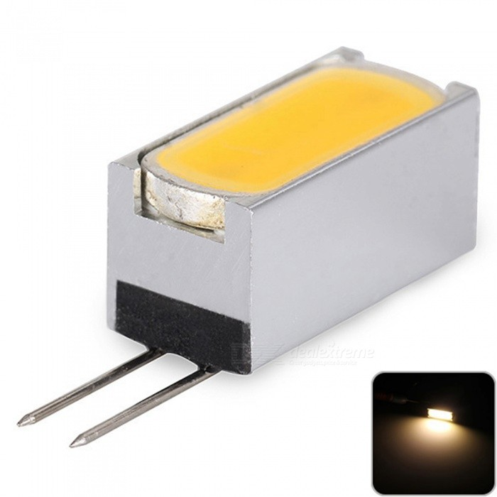 Sencart G4 COB 1.5W LED Bulb, Cabinet Home Light Boat RV Car Reading Spotlight Lamp - Warm White / DC12VG4<br>ColorWarm WhiteModelG4MaterialAluminum+LED+PCBForm  ColorSilverQuantity1 piecePowerOthers,1.5WRated VoltageOthers,12 VConnector TypeG4Chip BrandLUMILEDSChip TypeCOBEmitter TypeCOBTotal Emitters1Theoretical Lumens150 lumensActual Lumens110 lumensColor Temperature3000KDimmableNoBeam Angle180 °Packing List1 x G4 Light Blub<br>