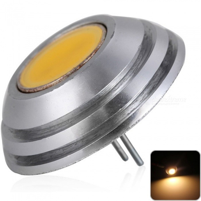 Sencart G4 COB 1SMD LED Bulb, Car Marine RV Camper Home Lamp Spot Light - Warm White / DC12VG4<br>ColorWarm WhiteModelG4MaterialAluminum+LED+PCBForm  ColorSilverQuantity1 piecePowerOthers,1.5WRated VoltageOthers,12 VConnector TypeG4Chip BrandLUMILEDSChip TypeCOBEmitter TypeCOBTotal Emitters1Theoretical Lumens150 lumensActual Lumens110 lumensColor Temperature3000KDimmableNoBeam Angle180 °Packing List1 x G4 Light Blub<br>