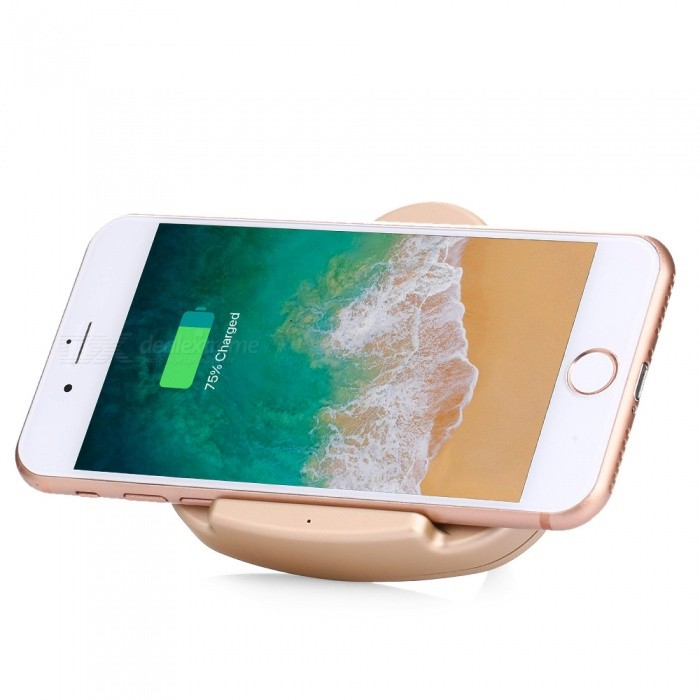 Triangle Holder 5V 1A Fast Wireless Charging Charger for Note 8 / S8 / S7, IPHONE 8 / 8 Plus / X - GoldenWireless Chargers<br>ColorGoldenQuantity1 pieceMaterialABS + Copper CoilsExecutive StandardQiShade Of ColorGoldTypeChargerCompatible ModelsSamsung Galaxy Note 8 / S8 / S8 Plus / S7 Edge, iPhone 8 / 8 Plus / X and other Qi-enabled devicesTransmition Distance8mmCharging Efficiency75%Built-in BatteryNoCable Length100 cmInput5VOutput interface, output current, output voltage1ALED IndicatorYesPacking List1 x Triangle Holder Wireless Charger1 x USB Charging Cable1 x English Manual<br>