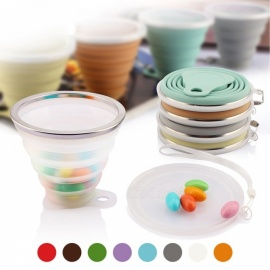 ME.FAM 270ml Stainless Steel Silicone Folding Cup with Lanyard / Dustproof Cover Lid, Outdoor Retractable Travel Coffee Cup  Transparent 1 Piece/270ml