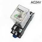 Bemm2c 24v ac coil dpdt 8 pins electromagnetic power relay with dyf08a base