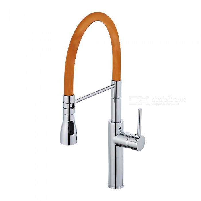 F-9112C Brass Chrome 360 Degree Rotatable Ceramic Valve Single Handle One-Hole Kitchen FaucetKitchen Faucets<br>ColorOrangeSizeOther Regions/CountriesModelF-9112CMaterialBrassQuantity1 setFinishChromeValve TypeCeramic ValveNumber of handlesSingleSpout Height19.5 cmSpout Length20 cmTotal Height52 cmPacking List1 x Faucet2 x Stainless steel tubes (60cm)<br>