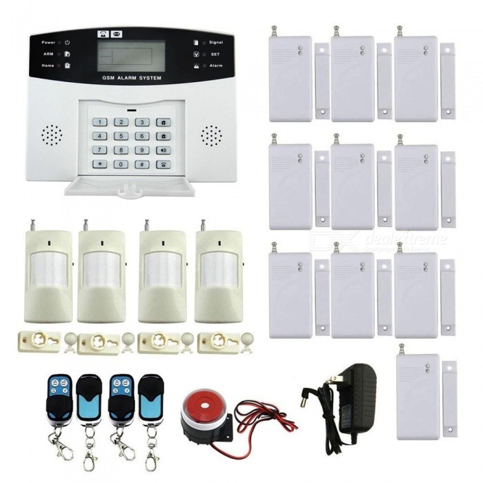 IN-Color Quad-Band Wireless Home Office Security System Kit, Remote Control Intelligent LED Display GSM Alarm Set - US PlugAlarm Systems<br>Power AdapterUS PlugModel9100F2MaterialPlasticQuantity1 setRemote Control Range30 cmVoice Decibels90Power AdaptorYesPower Supply14Working Temperature-10-+40 ?Working Humidity90Working Frequency433Power SupplyAA,Others,DC12V/1.2ABattery included or notYesBattery Number12Rated Current1.2 ARate Voltage12VPacking List1 x Main Unit ( built-in AAA*6 battery, DC12V, 800mA, included) 1 x English User Manual 1 x Power Supply (110-240V /2-fiat-pin plug/110cm) 4 x Remote Control (DC12V/23A Button Battery,included)10 x Door/Window Magnetic Detector (9V included 60mA,included)4 x Wireless Infrared Detectors (DC9V, 6F22, 180mA, included)1 x Mini Siren (88cm)<br>