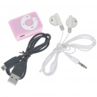 USB Rechargeable Mini Screen-Free Clip MP3 Player - Pink (2GB)