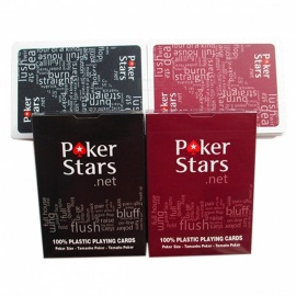 Texas Hold'em plastic speelkaart spel pokerkaarten waterdicht en saai Pools poker star bordspellen K8356 2sets / lot 1red en 1black