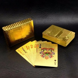 One Deck Gold Foil Poker Euros Style Plastic Poker Playing Cards Waterproof Cards Good Price Gambling Board game GYH Golden