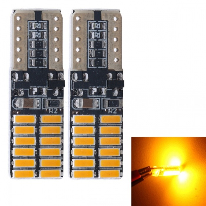 JRLED T10 3W Yellow 4014 24-SMD LED Indicator Lamp, Reading Light (2 PCS / DC12V)Car Interior Lights<br>Emitting ColorYellowModelJR-T10 LEDQuantity2 piecesMaterialsoft fiber+LEDPower3 WWorking VoltageDC12VConnectorOthers,T10Bulb Specification4014 SMDBrightness200LmColor BIN2000KApplicationFront Turn Signals Bulb,Rear Turn Signals Bulb,Brake BulbCertificationCE ROHSOther FeaturesUltra small size, with 4014 SMD high-power lamp, high brightness, Aluminum Alloy heat, the color index above 80, DC12V universal, suitable for all kinds of cars, lamps, license plate lamp, reading lamp, warning lamp.Packing List2 x T10 LED Bulbs<br>