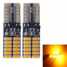 JRLED T10 3W Yellow 4014 24-SMD LED Indicator Lamp, Reading Light (2 PCS / DC12V)