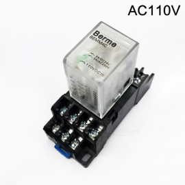 BEMM4C AC 110V Coil 4PDT 14 Pins Electromagnetic Power Relay w/ DYF14A Base