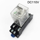 Beml2c 110v dc coil dpdt big 8 pins electromagnetic power relay w/ dyf08a base