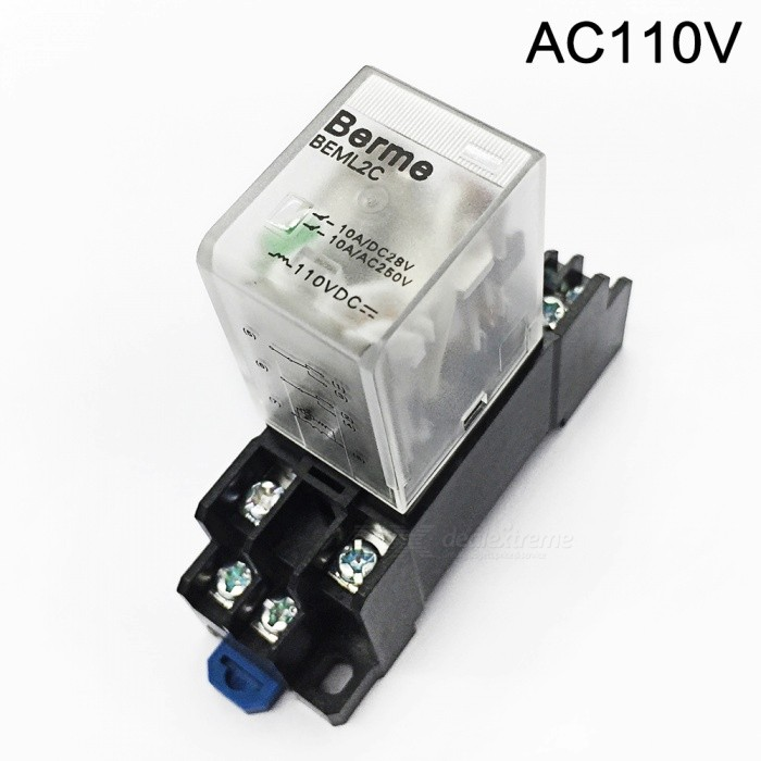 BEML2C 110V AC Coil DPDT Big 8 Pins Electromagnetic Power Relay w/ DYF08A BaseDIY Parts &amp; Components<br>Rate Voltage110V ACModelBEML2C   110VACQuantity1 pieceMaterialPlasticEnglish Manual / SpecNoOther FeaturesDPDT 2NO 2NC typeCertificationISO9001Packing List1 x Electromagnetic Relay                                                                         1 x DTF08A Base<br>