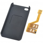 Three SIM Cards Adapter with Specific Protective Plastic Backside Case for Iphone 4 - Black
