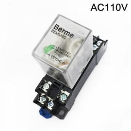 BEMM2C 110V AC Coil DPDT 8 Pins Electromagnetic Power Relay w/ DYF08A Base