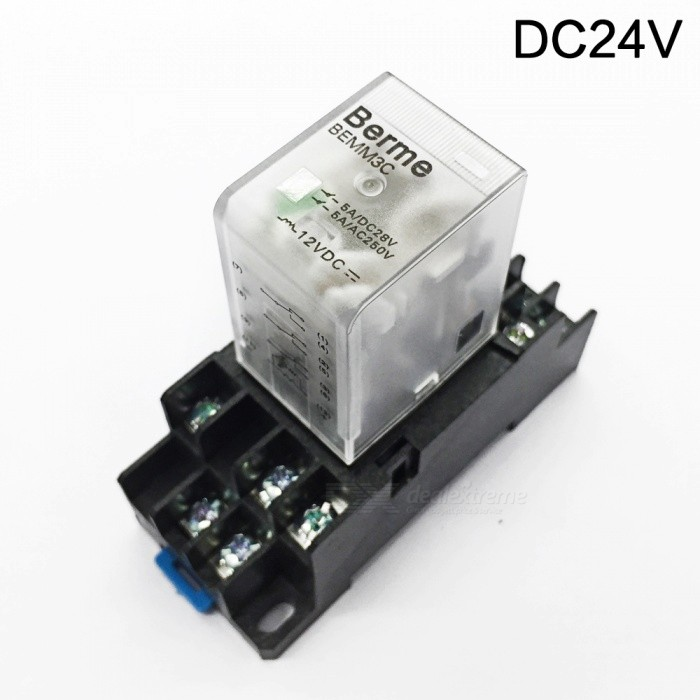BEMM3C DC 24V Coil 3PDT 11 Pins Electromagnetic Power Relay w/ DYF11A BaseDIY Parts &amp; Components<br>Rate Voltage24V DCModelBEMM3CQuantity1 pieceMaterialPlasticEnglish Manual / SpecNoOther Features3PDT 3NO 3NC typeCertificationiso9001Packing List1 x Electromagnetic Relay                                                                                1 x DYF11A Base<br>