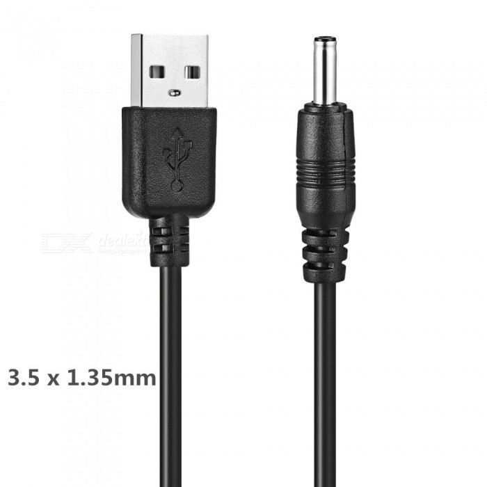DC3.5 x 1.35mm to USB Power Cable for USB Light / USB Fan / 5V Mini Speaker / Etc - Black / 150cmComputer Cable&amp;Adapter<br>ColorBlackLength150cmModelN / AQuantity1 DX.PCM.Model.AttributeModel.UnitShade Of ColorBlackMaterialPVCInterfaceUSB 2.0Powered ByUSBTypeTabletsPacking List1 x Cable<br>