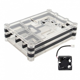 Geekworm 5-Layer ABS Case Enclosure with Cooling Fan Kit for Raspberry Pi 3 Model B, 2B, B+